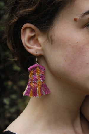Handwoven Pink and Orange Earrings