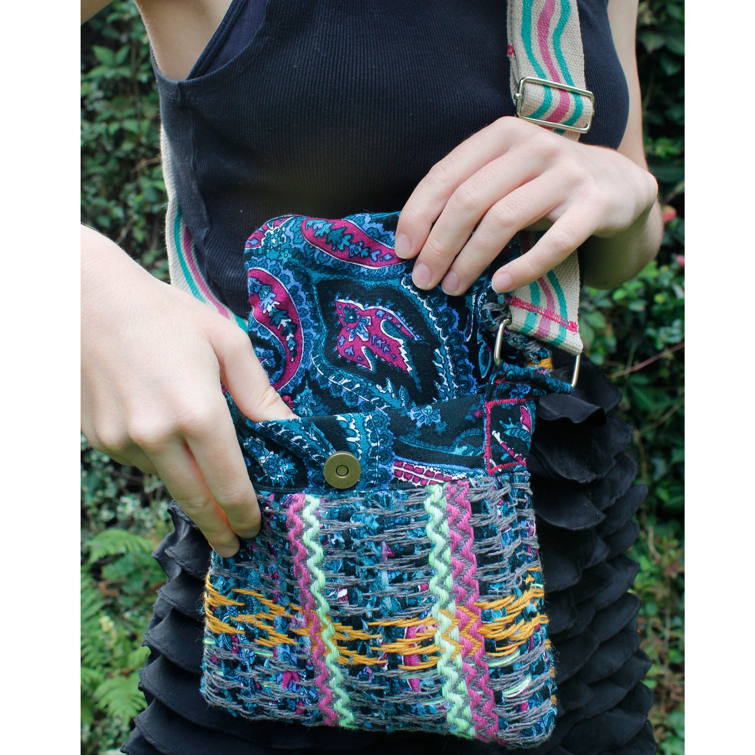 Unique Handwoven Bag- Deep Turquoise and Pink Paisley