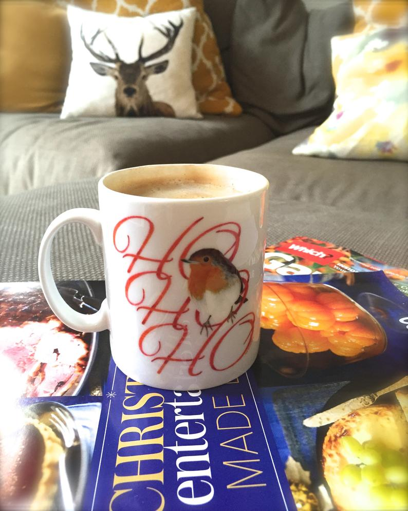 Image of Fine Bone China Robin mug with choccy treat & gift tag.