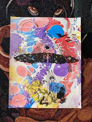 Image of Midnight on Acid Beach marbled print