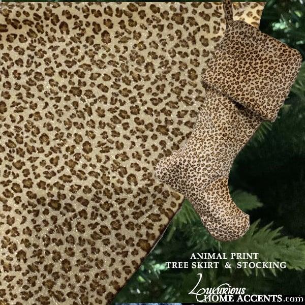 Image of Animal Print Christmas Tree Skirt and Stocking