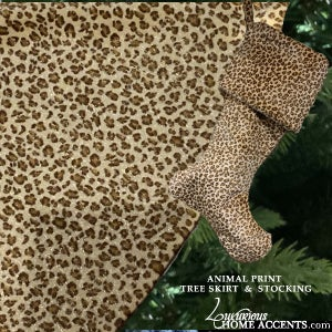 Image of Animal Print Christmas Tree Skirt and Stocking