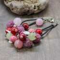 Lampwork bracelet with clover flowers and cranberry