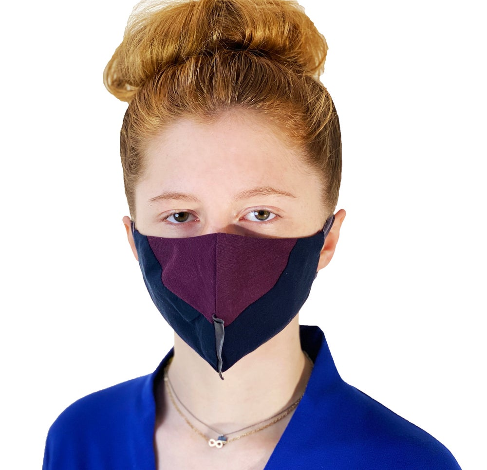 Image of face mask burgundy navy