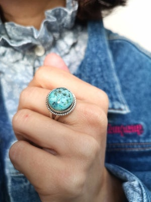 Image of Bague turquoise du tibet - taille 55 - ref. #6198