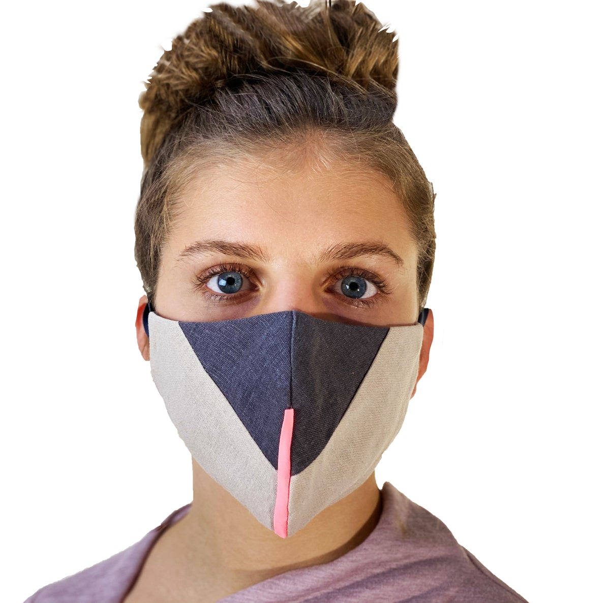 Image of face mask ecru and gray