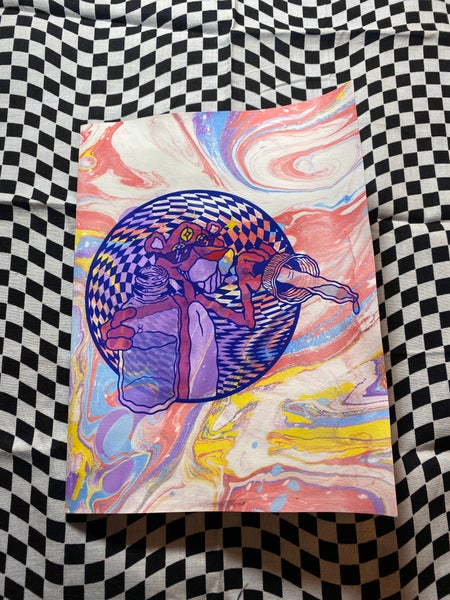 Image of Pink Sunshine marbled zine