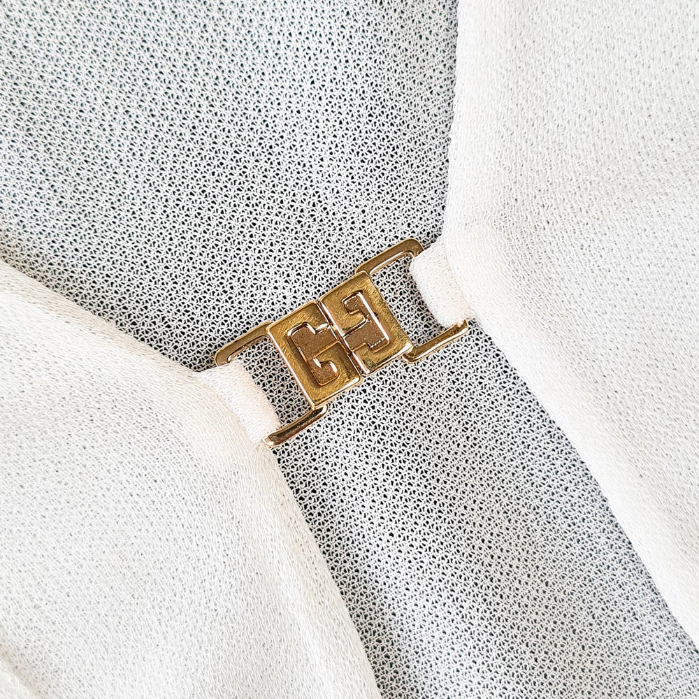 Image of Gucci by Tom Ford SS 1998 Sheer Logo Buckle Top