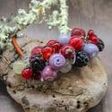 Lampwork bracelet with blackberry and crabapple