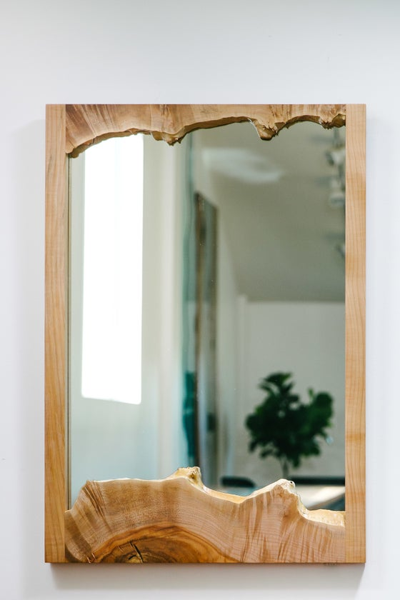 Image of live edge maple mirror