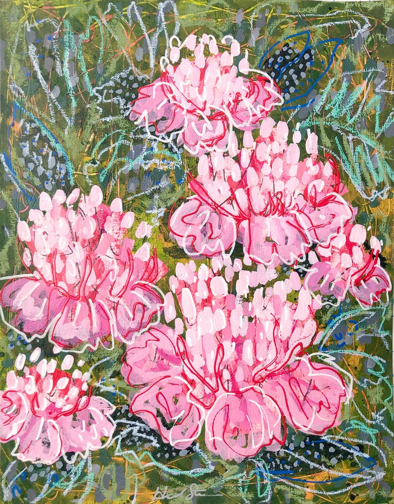 Image of Abstract Peonies and a Sea of Greens - 11x14 Original Painting on Paper