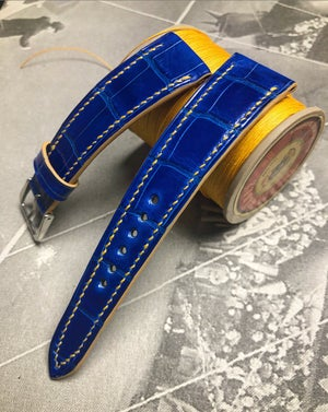 Image of Glazed Blue Alligator and Yellow saddle stitch watch strap