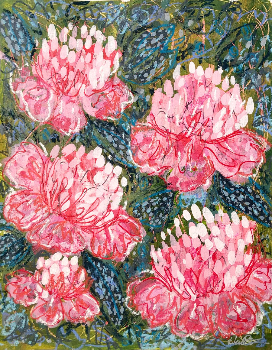 Image of Abstract Peonies and Speckled Foliage - 11x14 Acrylic Painting on Paper