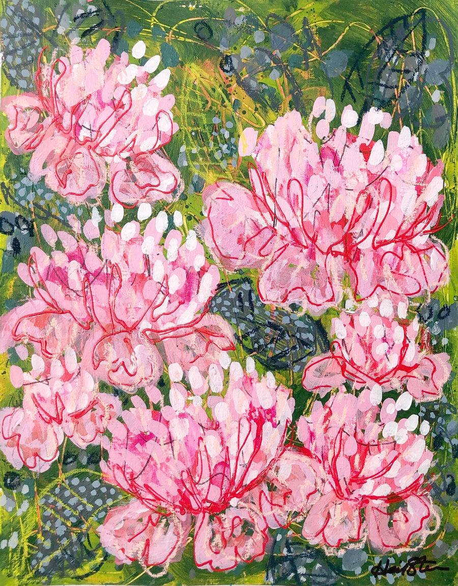 Image of Abstract Peonies and Olive Leaves - 11x14 Acrylic Painting on Paper