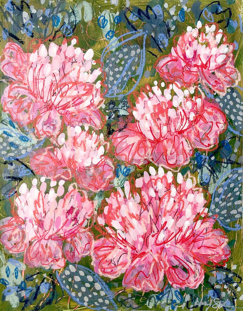 Image of Abstract Peonies and Big Blue Hostas - 11x14 Original Painting on Paper