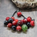 Lampwork bracelet with crabapple and goose berry