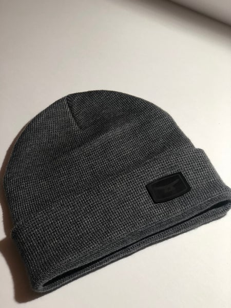 Image of MTD premium charcoal  Knit beanie, folded w/ authentic black leather patch