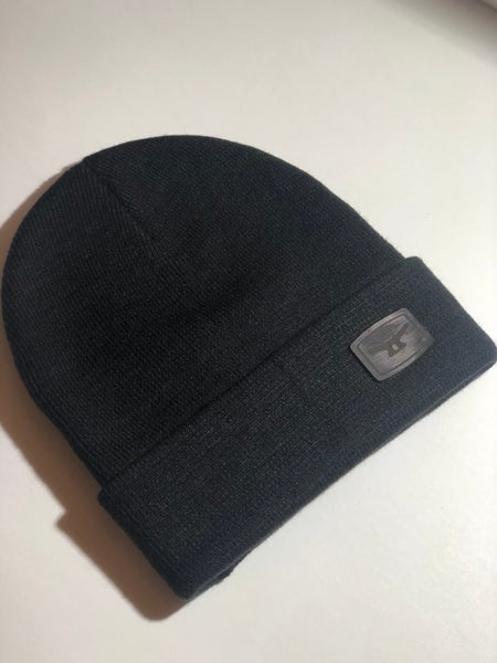 Image of MTD premium black Knit beanie, Folded w/ authentic black leather patch