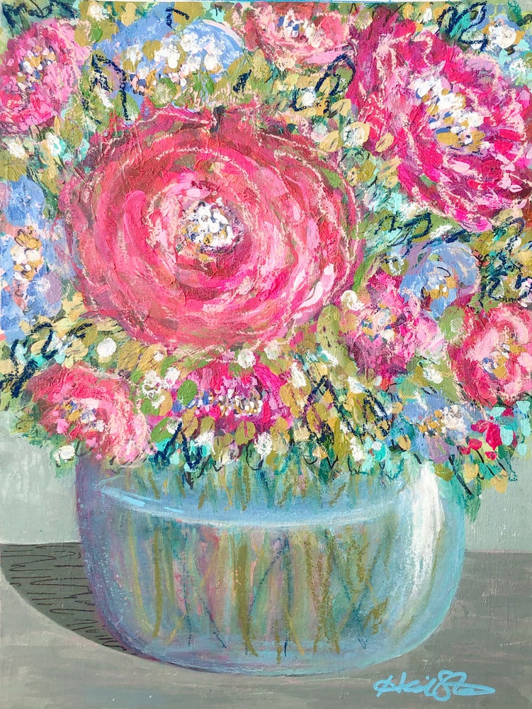 Image of Afternoon Tea in an English Garden- 9x12 Original Painting