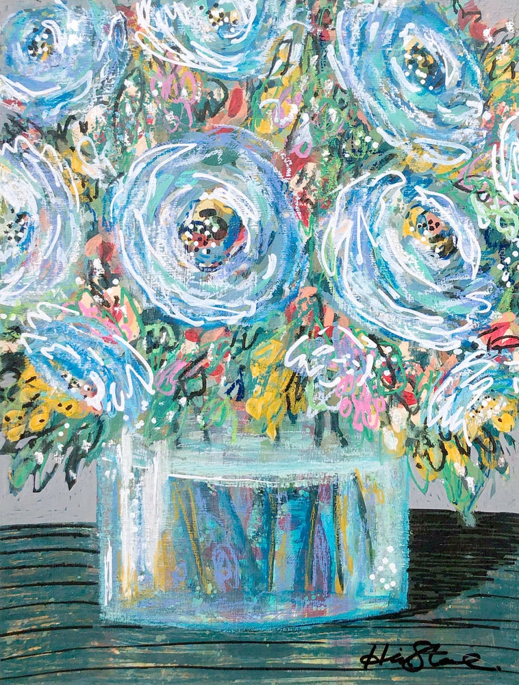 Image of The One with the Blue Flowers - 9x12 Original Painting
