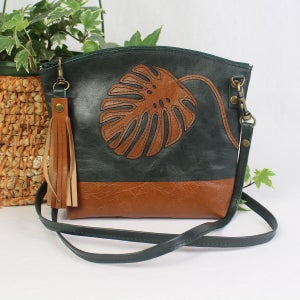 Image of Leather Curved Dance Bag - Monstera Green & Tan