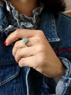 Image of Bague turquoise du tibet - taille 55 - ref. 7169