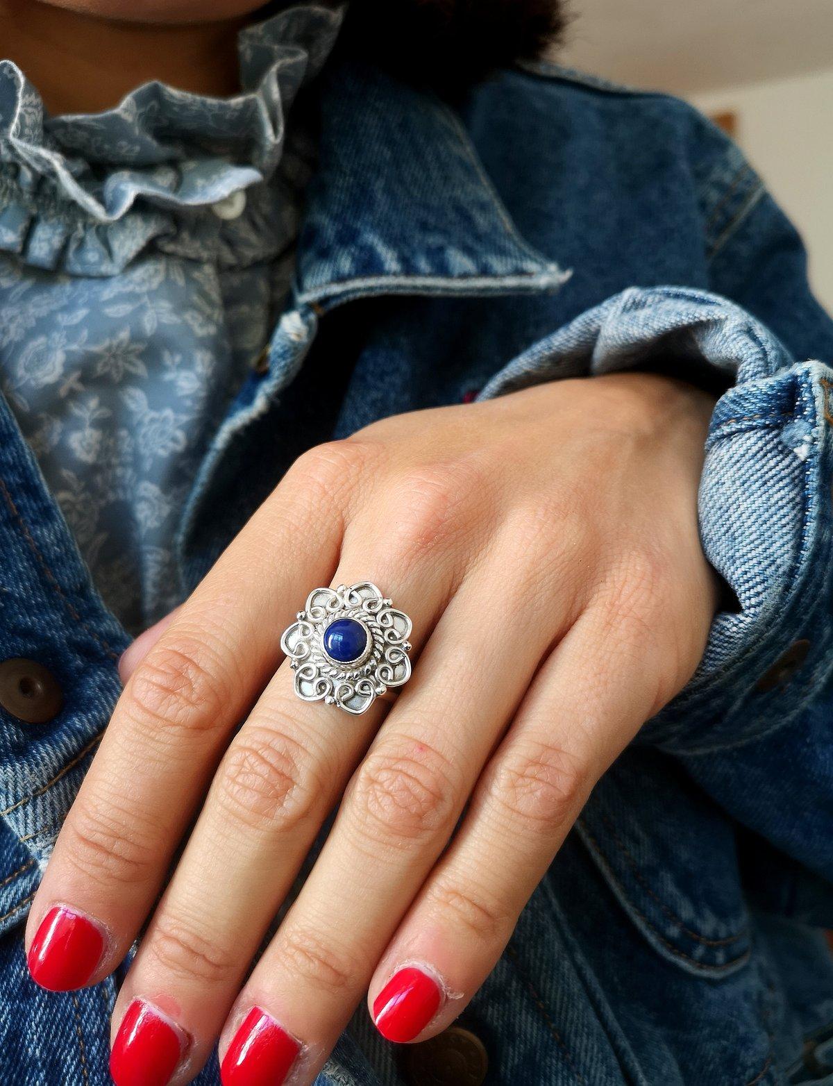 Image of Bague lapis lazuli - taille 55 - ref. 7146
