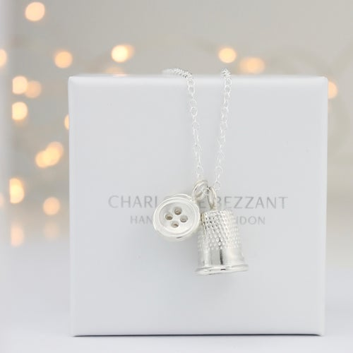 Image of silver button & thimble necklace