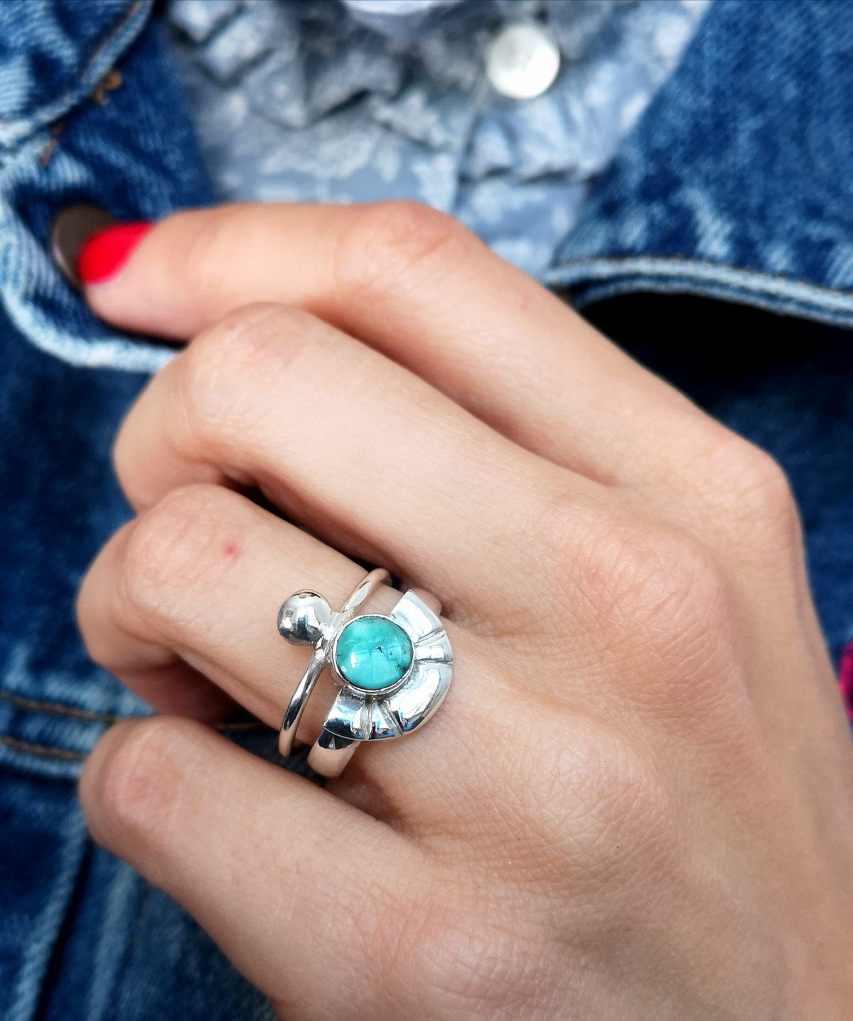 Image of Bague turquoise du tibet - taille 55 - ref. 7163
