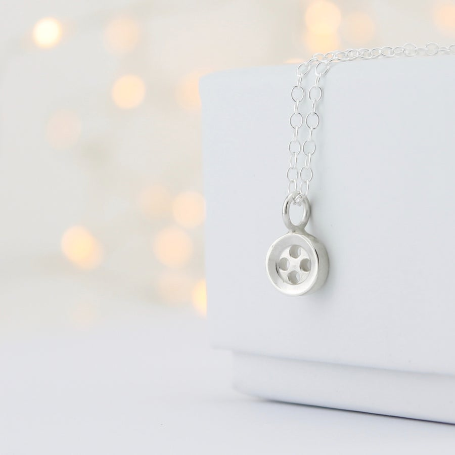 Image of Small silver button necklace, haberdashery necklace