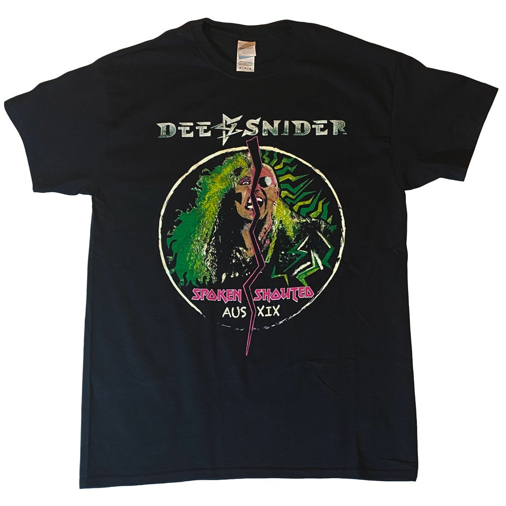 Image of DEE SNIDER - Spoken & Shouted -  SHIRT Aussie Tour Dates on Back