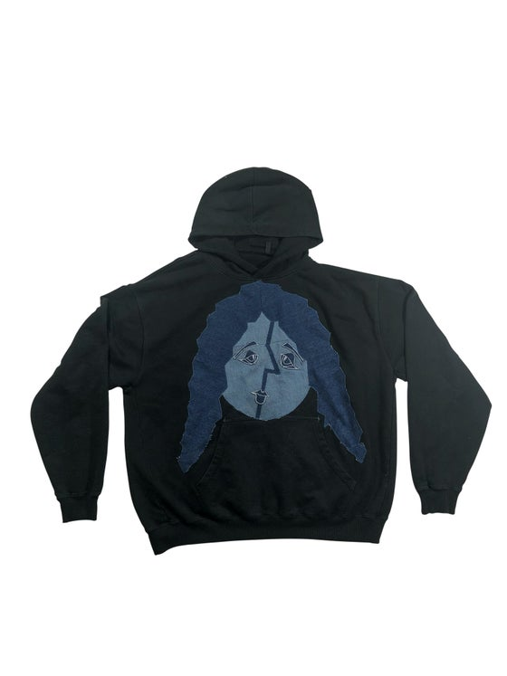 Image of Faces Heavyweight Vintage Washed Hoodie (Denim Patch)