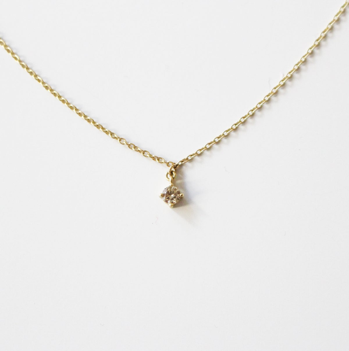 Image of solitaire diamond choker necklace