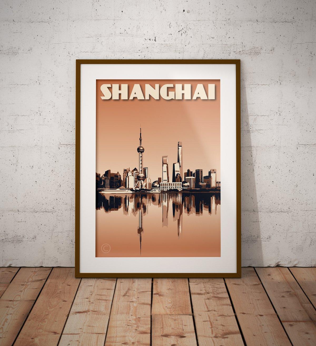Image of Vintage Poster Shanghai - Shanghai Skyline - Waterfront - Burnt Orange - Fine Art Print