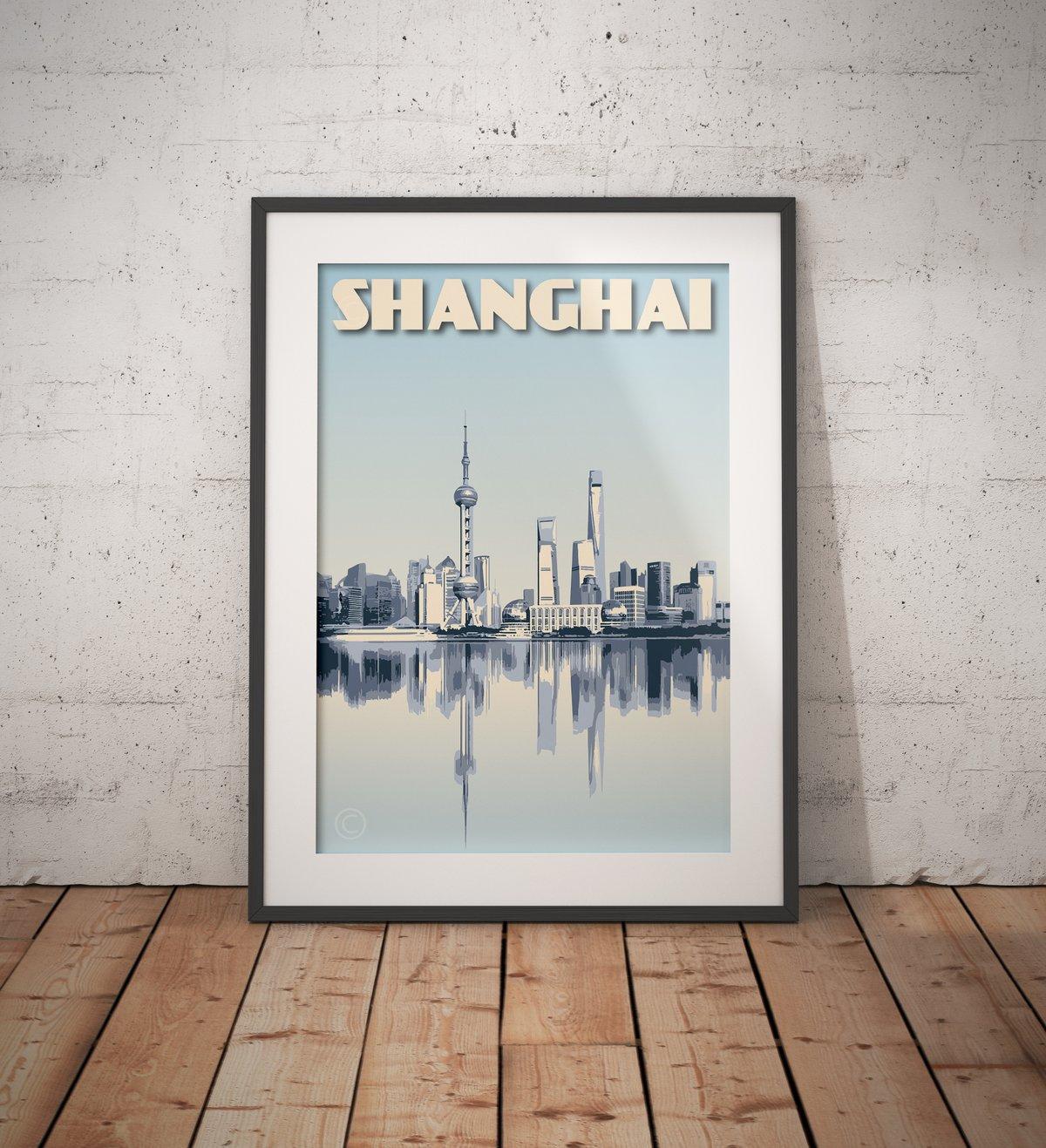 Image of Vintage Poster Shanghai - Shanghai Skyline - Waterfront - Blue - Fine Art Print