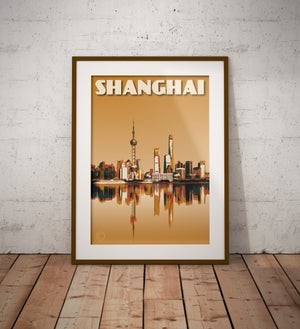 Image of Vintage Poster Shanghai - Shanghai Skyline - Waterfront - Mustard - Fine Art Print