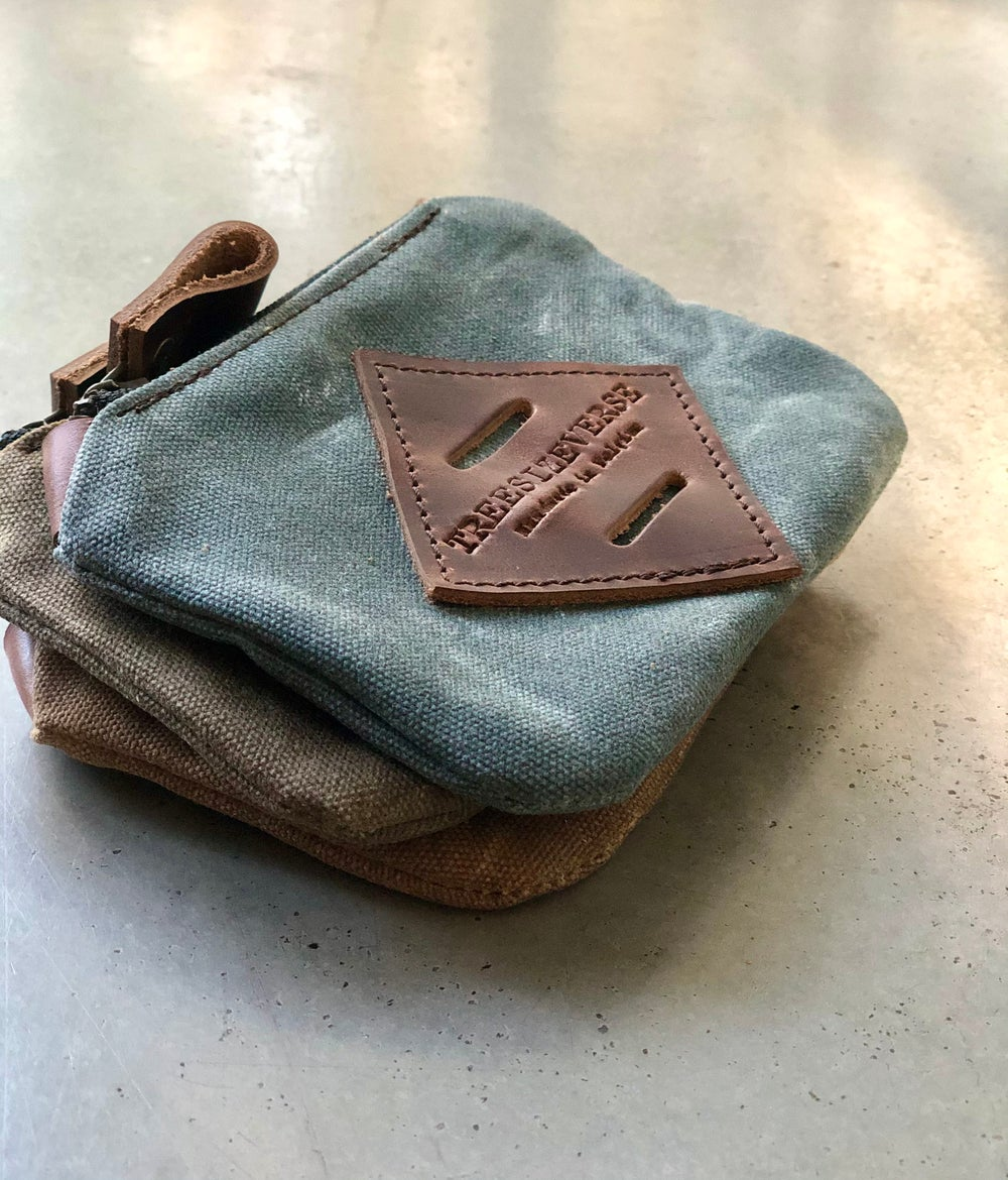 Image of Waxed canvas small pouch / small zipper pouch / coin purse
