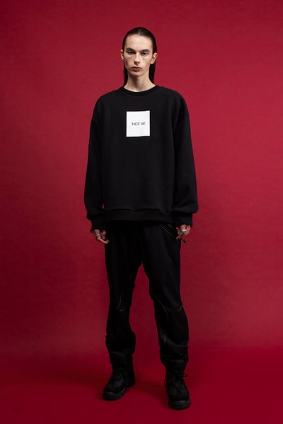 Image of NIGHT FLOW - Leather Box Logo Sweatshirt (Black)