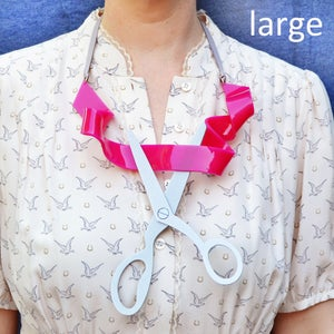 Image of Fancy Ribbon and Scissors Statement necklace