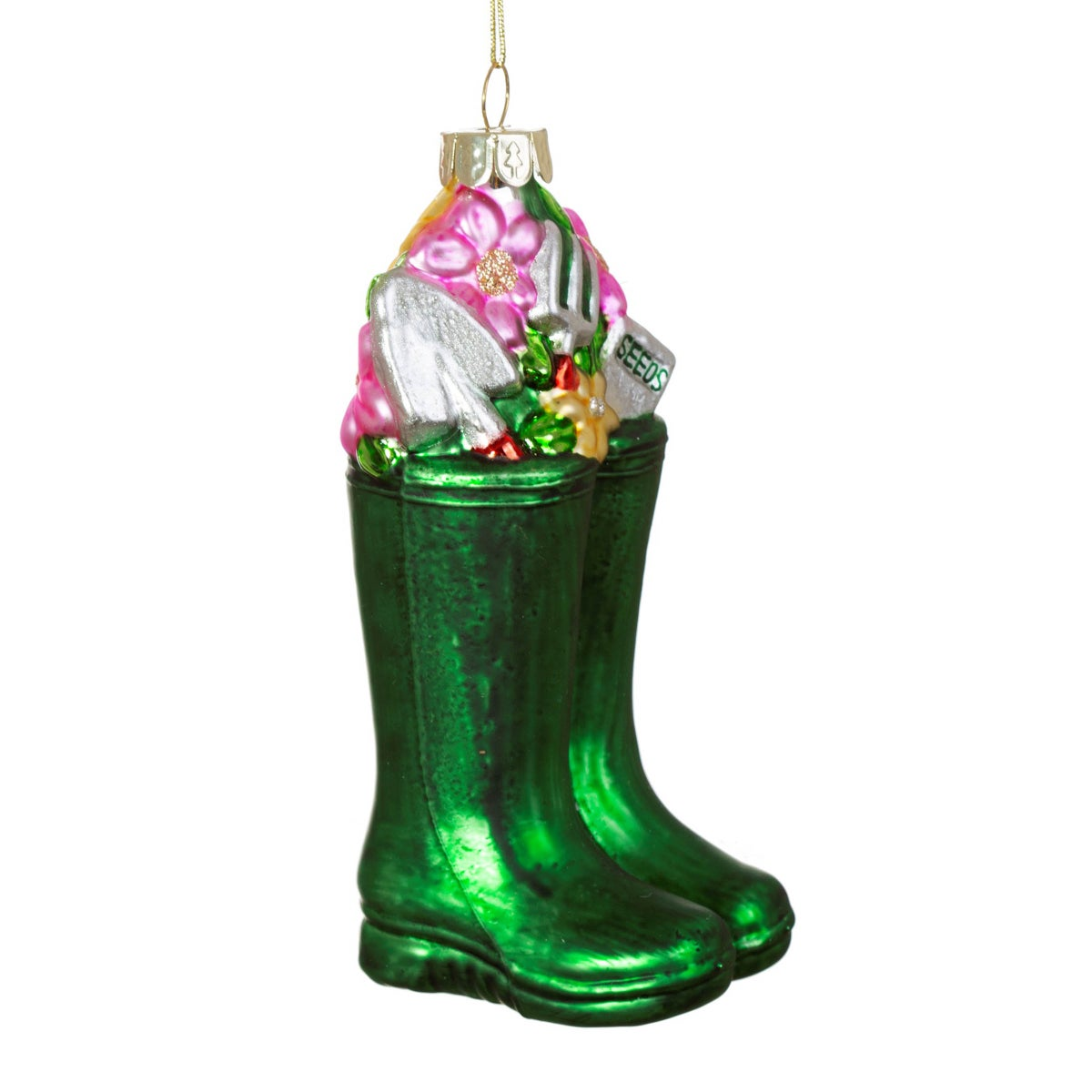 Image of Wellington Boots Glass Shaped Bauble