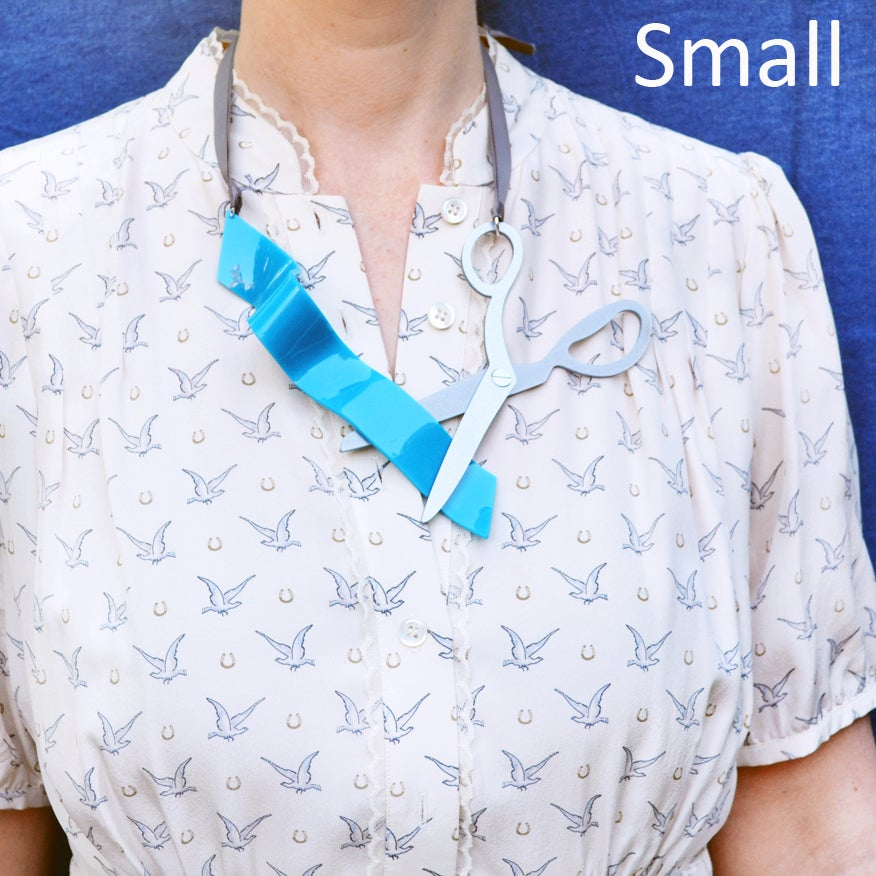 Image of Ribbon and Scissors Statement Necklace