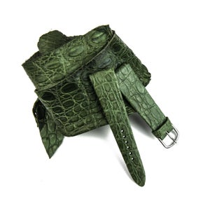 Image of Hand-rolled military green crocodile rembordé watch strap