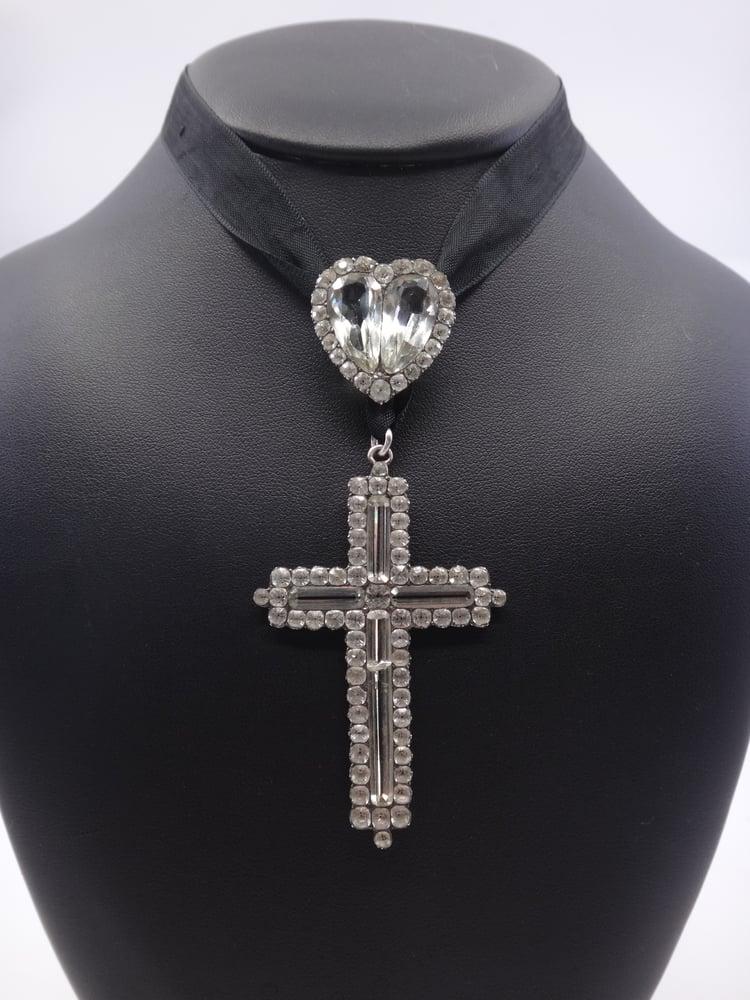 Image of Rare croix jeannette et son coeur coulant argent massif et pierre du Rhin XIXe