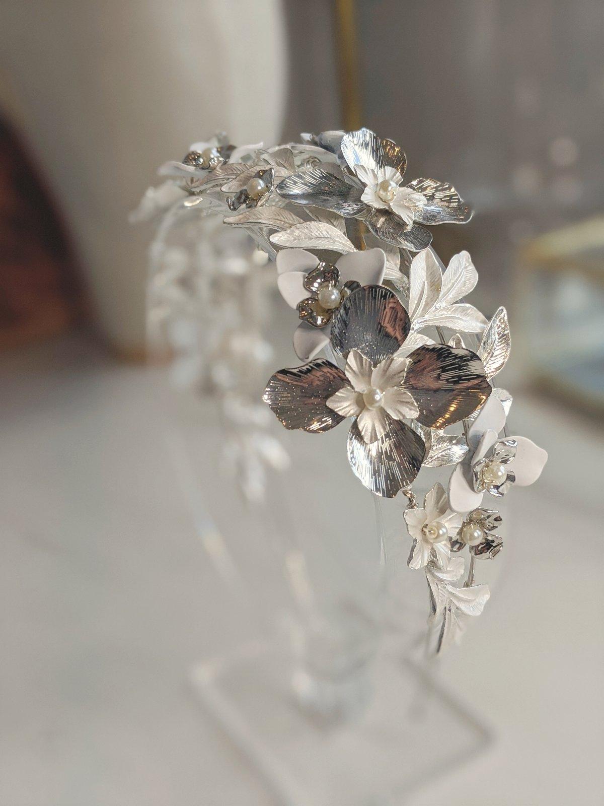 Silver Fleur de lune headband