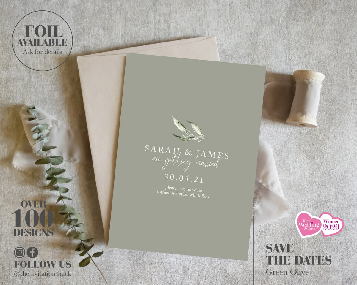 Olive Green Save the Dates