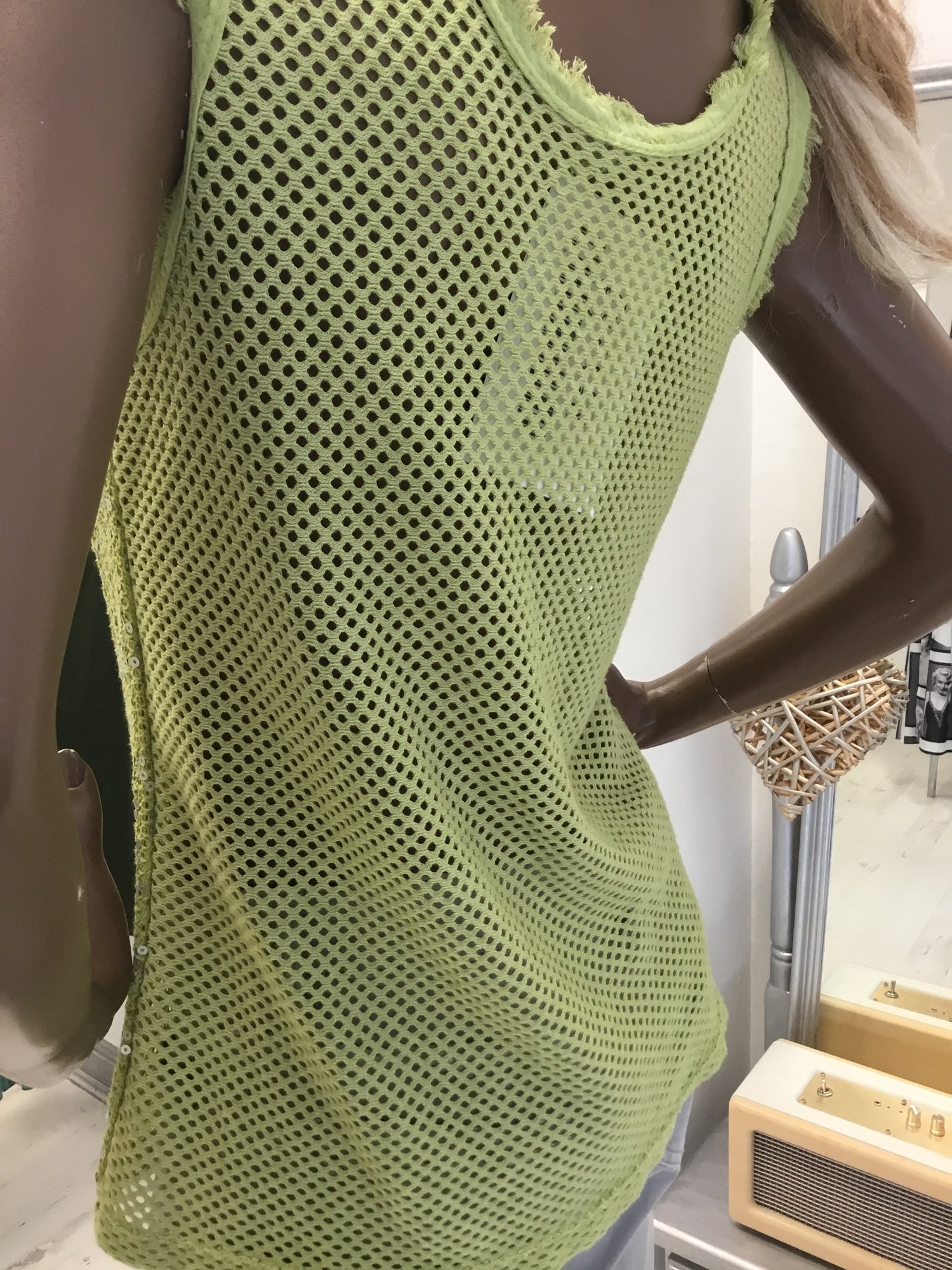 Image of GREEN GLITTER VEST TOP