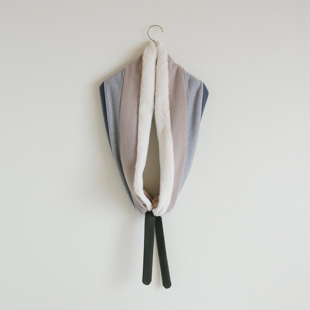 Image of muffler organic cotton fur #ash blue