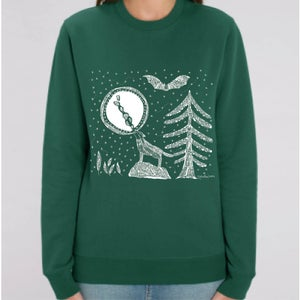 Image of Sweat-shirt Vert Forêt *Full Moon & Wolf*