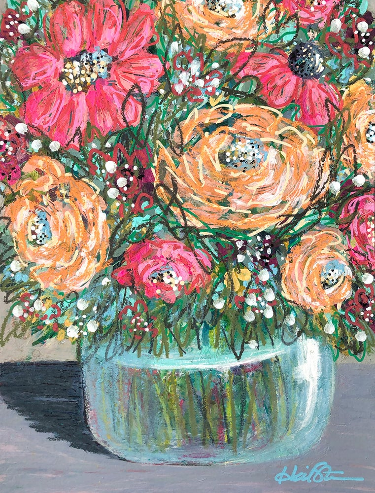 """Image of Wild and Free Floral Party - 9x12"""" Original Painting on Paper"""