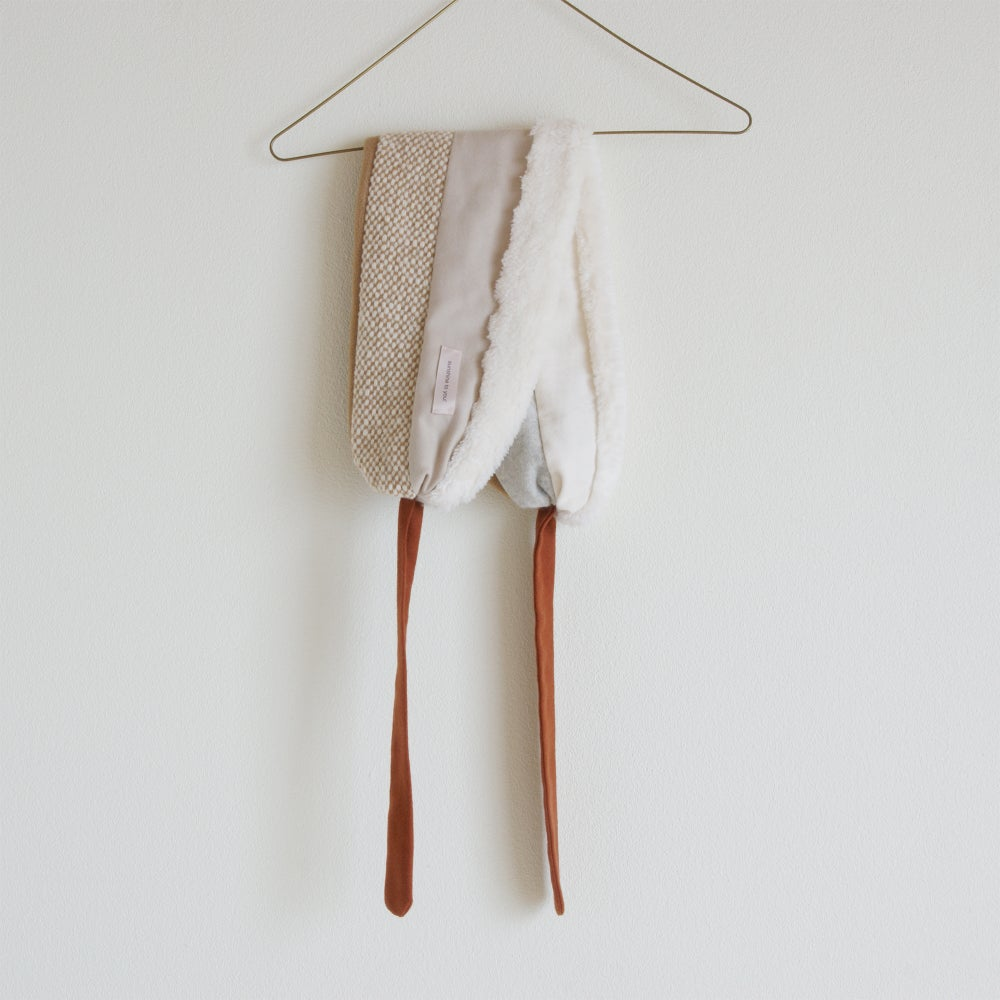 Image of kids muffler organic cotton fur #camel